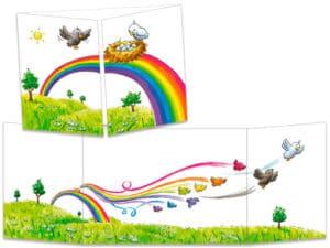 carte postale cache-cache ct274 les oiseaux arc en ciel