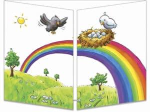 carte postale cache-cache ct274 les oiseaux arc en ciel fermée