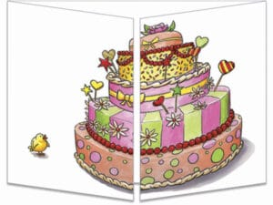 carte postale cache-cache ct278 poussin solidaire pour gâteau fermée