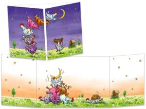 carte postale cache-cache ct279 les poules décrochent la lune