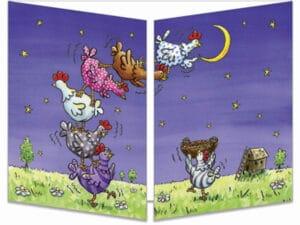 carte postale cache-cache ct279 les poules décrochent la lune fermée