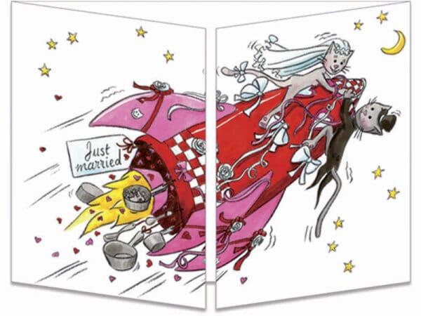 carte postale cache-cache ct282 mariage en fusée fermée