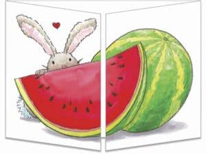 carte postale cache-cache ct284 les lapins et la pastèque d'amour fermée