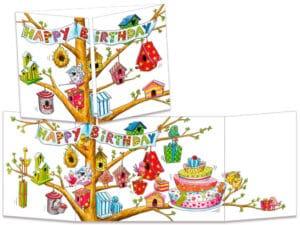 carte postale cache-cache ct288 les nichoirs à oiseau d'anniversaire