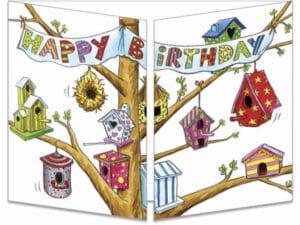 carte postale cache-cache ct288 les nichoirs à oiseau d'anniversaire fermée