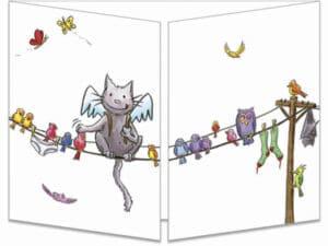 carte postale cache-cache ct289 le chat incognito sur le fil des oiseaux fermée