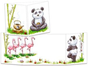 carte postale cache-cache ct294 le panda zen
