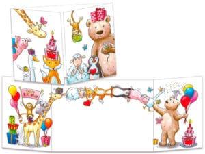 carte postale cache-cache ct295 les animaux acrobates anniversaire