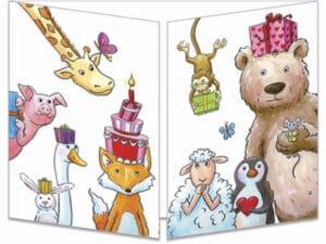 carte postale cache-cache ct295 les animaux acrobates anniversaire fermée