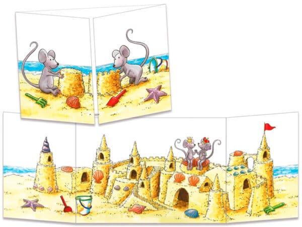 carte postale cache-cache ct297 le chateau de sable des souris