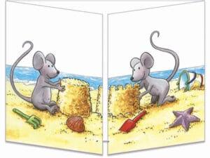 carte postale cache-cache ct297 le chateau de sable des souris fermée