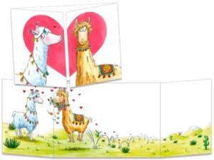 carte postale cache-cache ct301 les lamas amoureux
