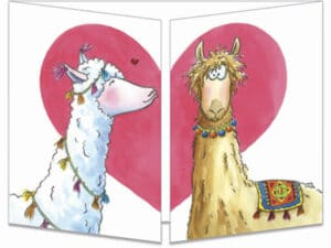 carte postale cache-cache ct301 les lamas amoureux fermée