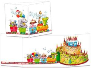 carte postale cache-cache ct304 Le petit train d'anniversaire