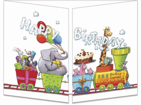 carte postale cache-cache ct304 Le petit train d'anniversaire fermée