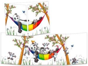 carte postale cache-cache ct305 Le panda dans son hamac