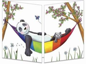 carte postale cache-cache ct305 Le panda dans son hamac fermée