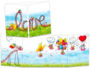 carte postale cache-cache ct306 Le love manège