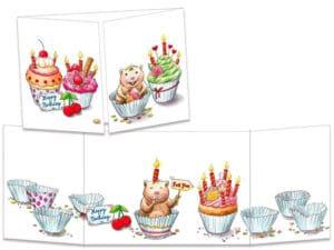 carte postale cache-cache ct309 Le hamster et les cup cake