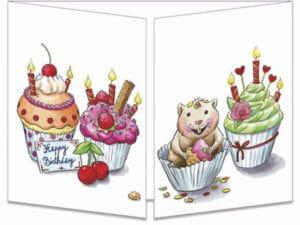 carte postale cache-cache ct309 Le hamster et les cup cake fermée