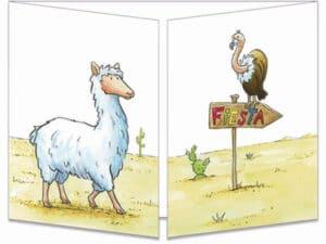 carte postale cache-cache ct310 Fiesta chez les lamas fermée