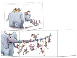 carte postale cache-cache ct311 Less souris et l'éléphant balançoire