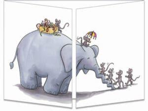 carte postale cache-cache ct311 Less souris et l'éléphant balançoire fermée