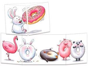 carte postale cache-cache ct312 Les animaux donuts