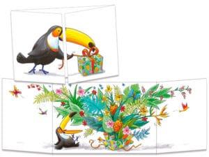 carte postale cache-cache ct313 Le cadeau magique du toucan