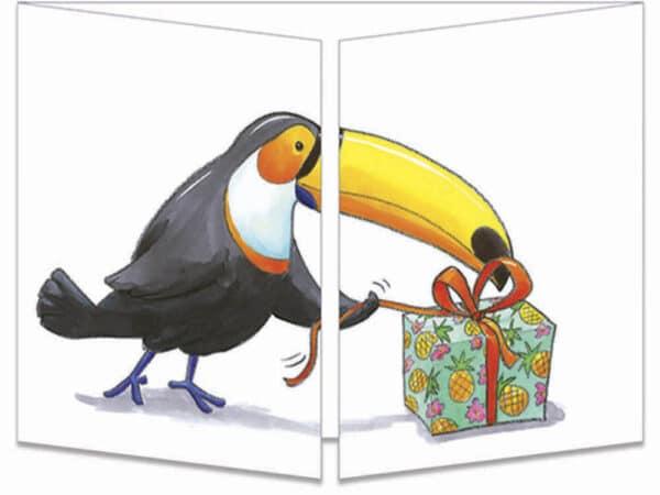 carte postale cache-cache ct313 Le cadeau magique du toucan fermée