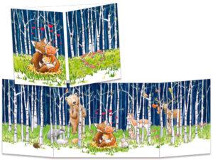 carte postale cache-cache ct314 Naissance du renardeau dans la forêt de bouleau
