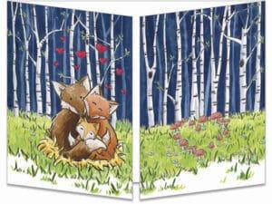 carte postale cache-cache ct314 Naissance du renardeau dans la forêt de bouleau fermée
