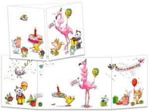 carte postale cache-cache ct315 Le flamant rose et a part de gateau d'anniversaire
