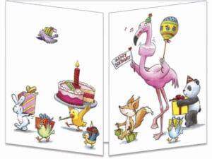 carte postale cache-cache ct315 Le flamant rose et a part de gateau d'anniversaire fermée