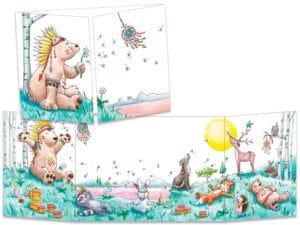 carte postale cache-cache ct317 La sérénité de l'ours indien et l'attrape rêve