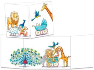 carte postale cache-cache ct320 le landeau de bébé et les animaux