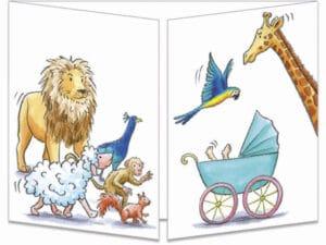 carte postale cache-cache ct320 le landeau de bébé et les animaux fermée