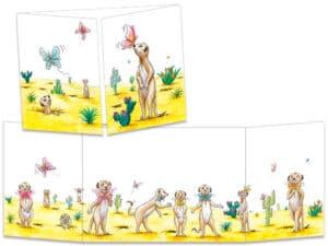 carte postale cache-cache ct321 les suricates et les papillons