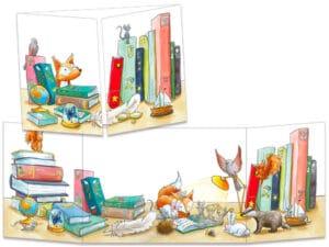 carte postale cache-cache ct322 la bibliothèque et les animaux de la forêt
