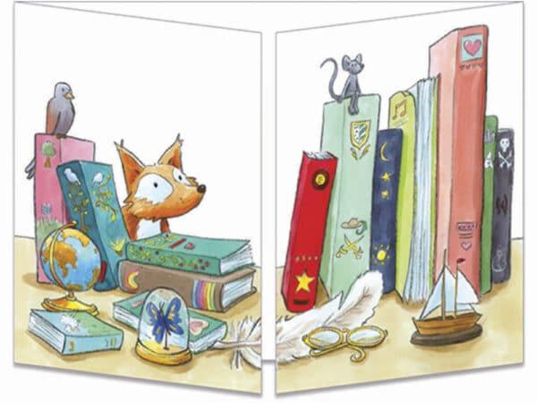 carte postale cache-cache ct322 la bibliothèque et les animaux de la forêt fermée