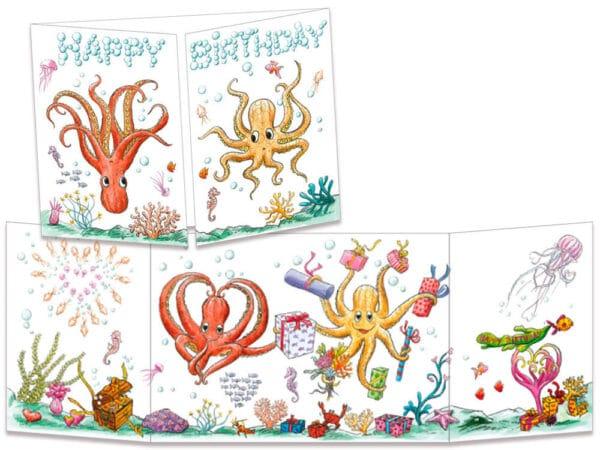 carte postale cache-cache ct324 anniversaire chez les pieuvres