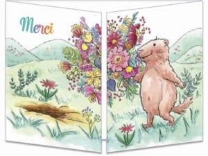 carte postale cache-cache ct325 le bouquet de fleurs merci de la marmotte fermée