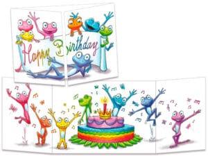 carte postale cache-cache ct327 l'anniversaire coloré des grenouilles
