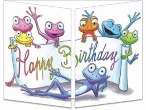 carte postale cache-cache ct327 l'anniversaire coloré des grenouilles fermée