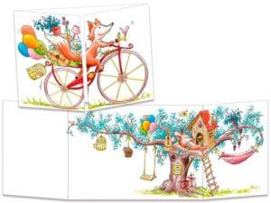 carte postale cache-cache ct328 le renard à vélo