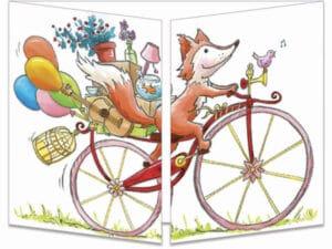 carte postale cache-cache ct328 le renard à vélo fermée