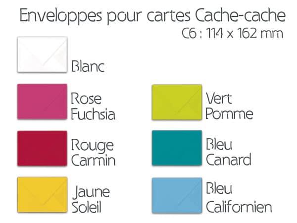 Enveloppes C6 les différents coloris