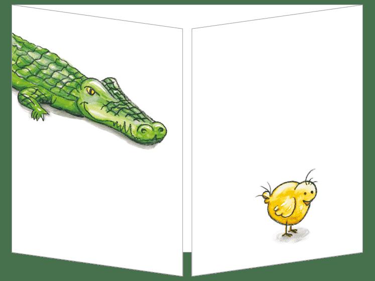 Le poussin et le crocodile carte postale cache-cache