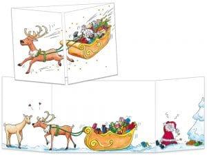 Carte postale cache-cache CT113 Le père Noël perd le contrôle
