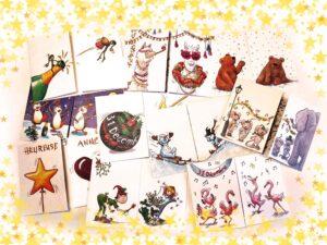 Lot de cartes postales cache-cache Nouvel an